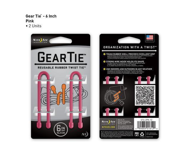 Gear Tie 6in 2 pk - Pink