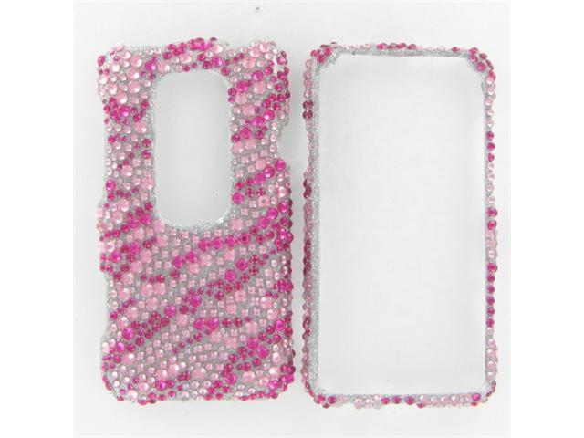 HTC Evo 3D Full Diamond Hot Pink Zebra Protective Case