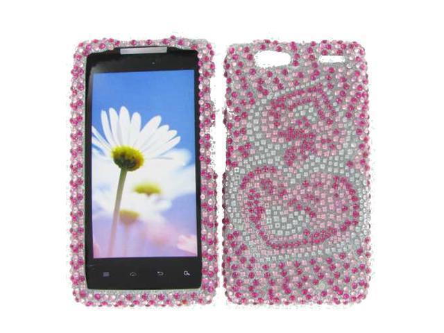 Motorola XT913 (Droid Razr Maxx) Full Diamond Pink Silver Heart Protective Case