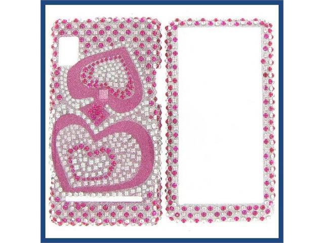 Motorola A955/A956 (Droid 2) Full Diamond Pink Silver Heart Protective Case