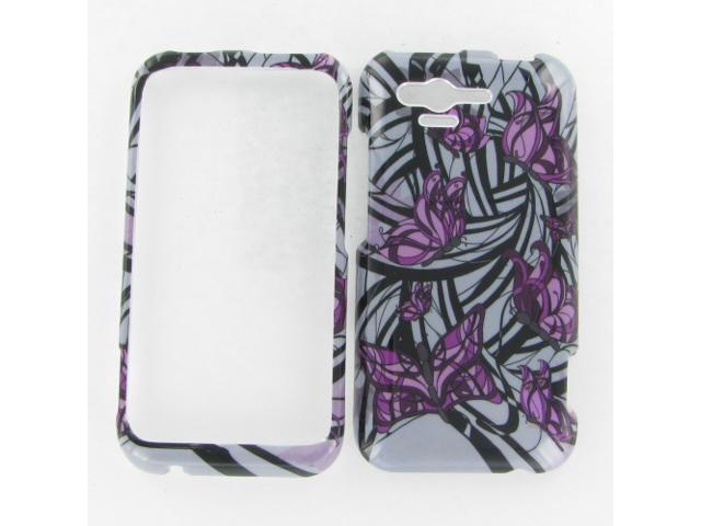 HTC ADR6330 (Rhyme) Purple Butterfly Protective Case