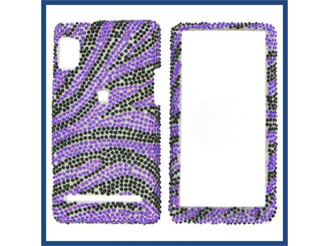 Motorola A955/A956 (Droid 2) Full Diamond Purple Zebra Protective Case