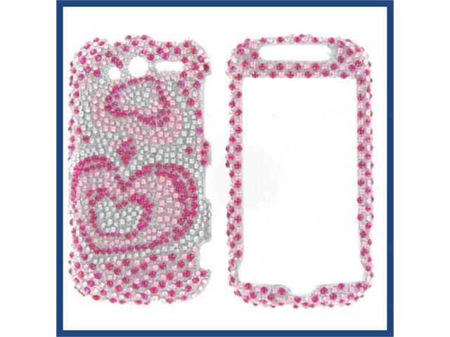 HTC MyTouch 4G 2010 Full Diamond Pink Silver Heart Protective Case