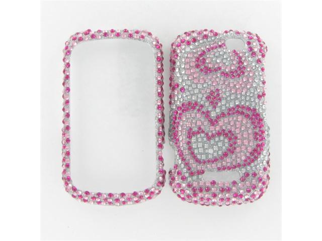 Motorola I475 (Clutch +) Full Diamond Pink Silver Heart Protective Case