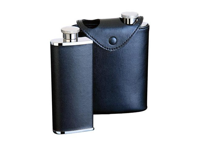 Dos Black Leather 6oz Hip Flask (Two 3oz Flasks in Case)