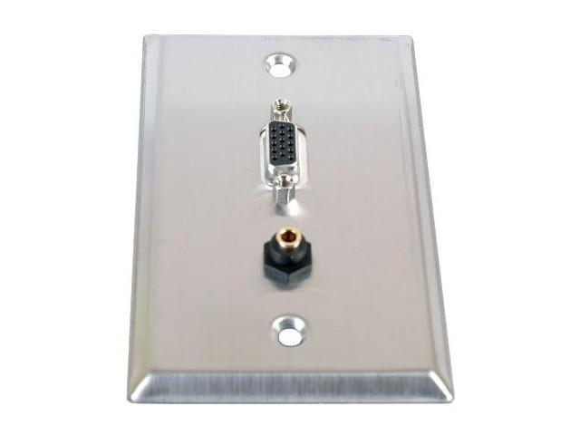Stainless Steel HD15 VGA plus 3.5mm Audio Jack Wall Plate