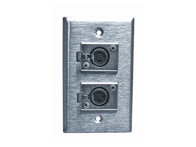 Stainless Steel XLR Female Wall Plate Single Gang with 2 Jacks