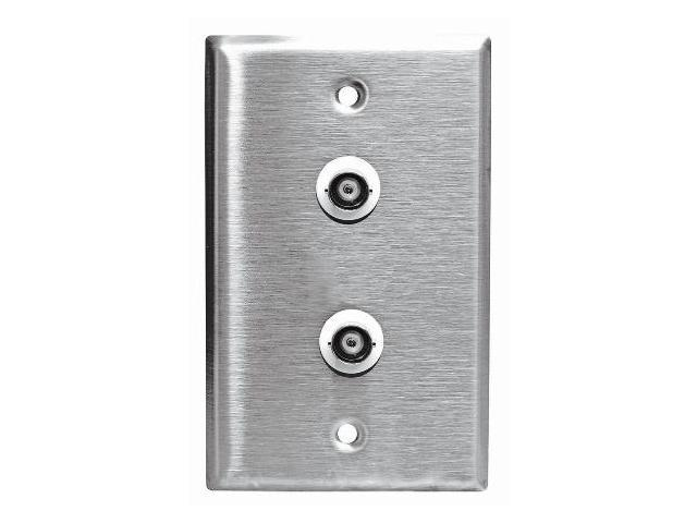 Stainless Steel BNC Wall Plate Single Gang with two BNC