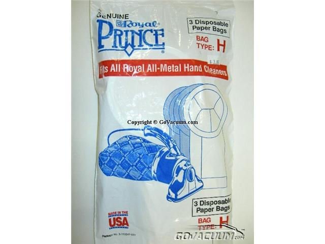 Royal / Dirt Devil Standard Paper Bags - 3pack - Prince Hand Vac - Type H Part# 3-050247-001