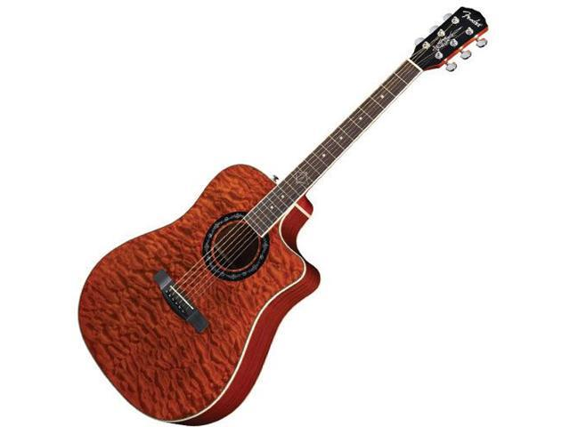 Fender T-Bucket 300CE Amber Quilt Maple Acoustic Electric Guitar