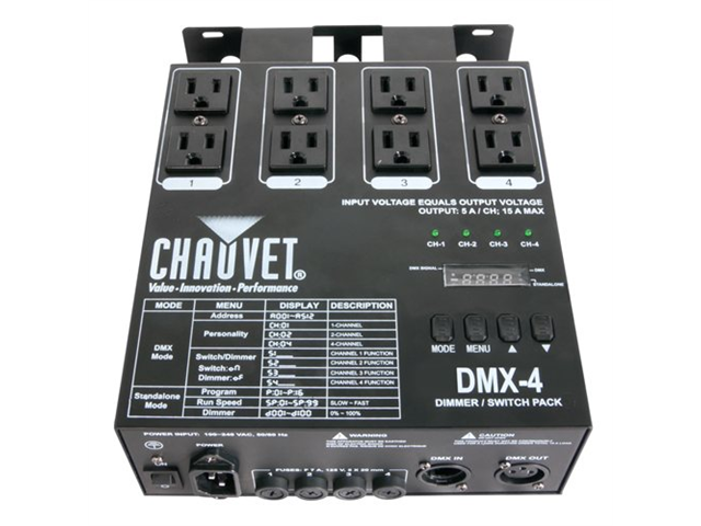 Chauvet DMX-4 Four Ch. DMX Switch/Dimmer Pack DMX Power Pack