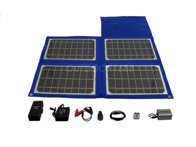 24W Portable Solar Charger Kit, foldable Camping, Hiking, Emergency, Survival, Disaster, Rescue, RV, Laptop, Hunting, Fishing, Boating kit. with 96W Battery.
