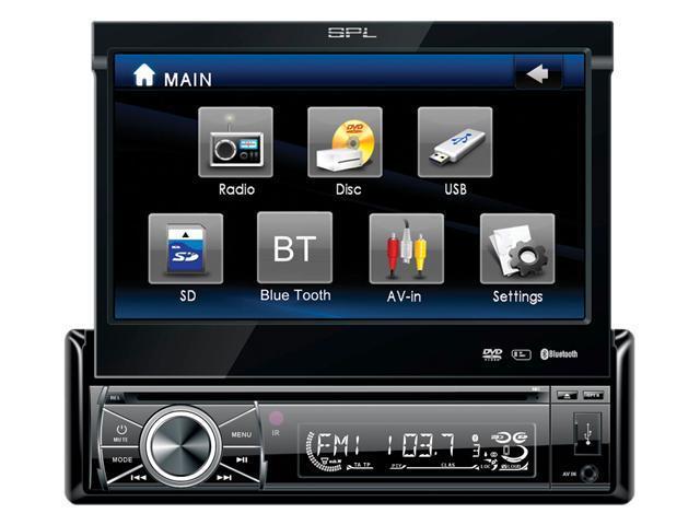 "SPL SID-8902BT (w/ Bluetooth V2.0 & Analog TV Tuner)Single Din A/V Source Unit w/ 7"" Flip-Up LCD Touch Screen"