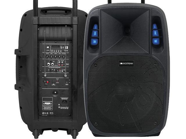 soundstream 15 battery powered dj speaker w 3 000w amplifier bluetooth v3 0. Black Bedroom Furniture Sets. Home Design Ideas