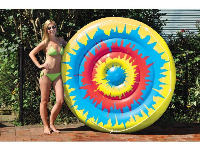 Tie Dye Island Inflatable Floating Lounger for Swimming Pools - 65