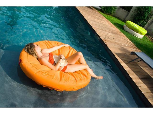 Sunsoft Island Bean-bag Inflatable Lounger for Swimming Pool - Orange