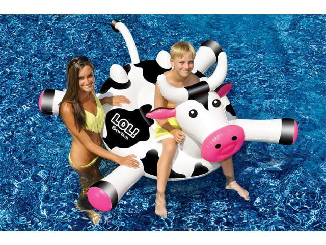 Swimline LOL 54 inch Cow Inflatable Ride-On Toy for Swimming Pool