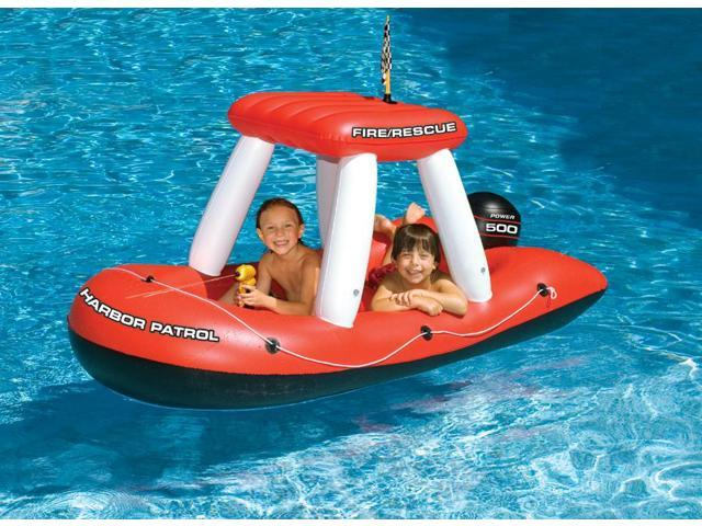 Fire Boat Inflatable with Built-in Water Pistol for Swimming Pool