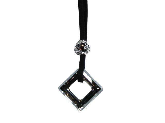 """<Just Perfect> Swarovski Crystal """"Luminescence""""in Leather Chain.18"""""""