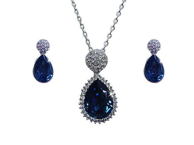 "<Just Perfect> Swarovski Crystal ""Mystery of the Nile"" Necklace Earring Group. 17""/0.9"""