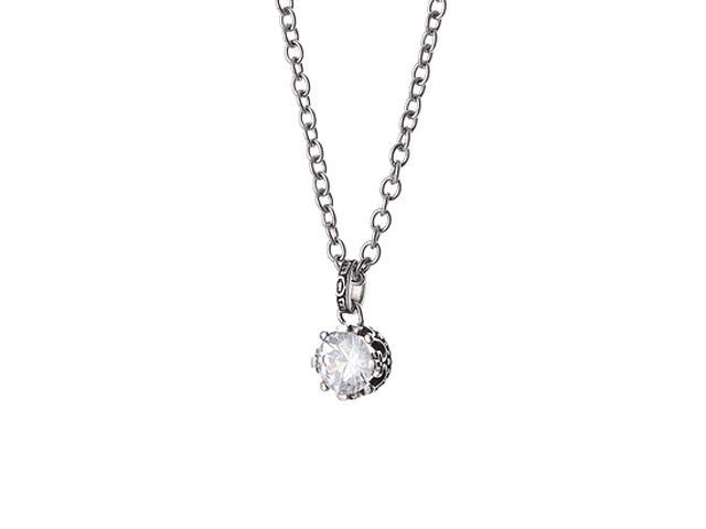 <Just Shine>316L Stainless Steell &  Clear CZ Cubic Zirconia  Necklace with 18 Inch Chain
