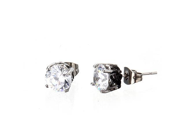 <Just Shine>316L Stainless Steel Stud Earring with Round CZ Cubic Zirconia