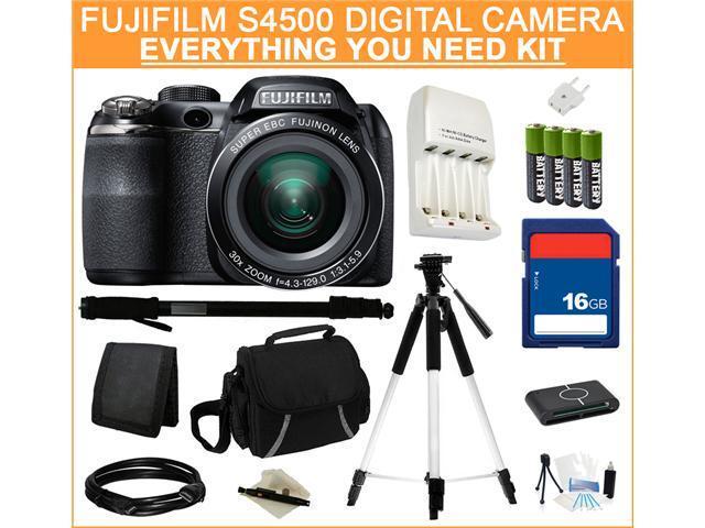 FUJIFILM S4500 Black 14.0 MP 30X Optical Zoom Wide Angle Digital Camera, Everything You Need Kit, 16202014