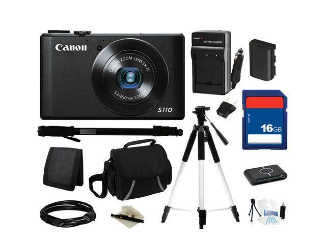 Canon Everything You Need Kit 6351B001, PowerShot S110 Black Approx. 12.1 MP 5X Optical Zoom 24mm Wide Angle Digital Camera HDTV Output