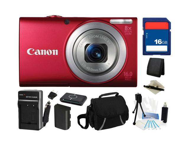 Canon PowerShot A4000 IS (Red) 16.0 MP 8X Optical Zoom 28mm Wide Angle Digital Camera with 720p HD Video Recording, Everything You Need Kit, 6150B001