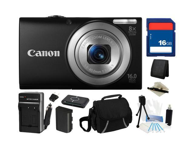 Canon PowerShot A4000 IS (Black) 16.0 MP 8X Optical Zoom 28mm Wide Angle Digital Camera with 720p HD Video Recording, Everything You Need Kit, 6149B001
