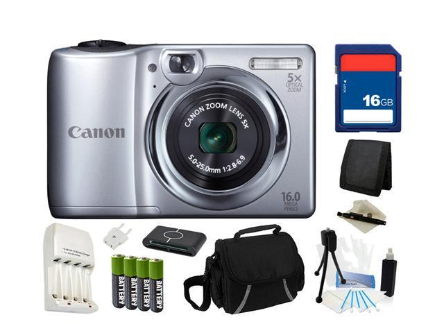 Canon PowerShot A1300 16.0 MP Digital Camera (Silver) with 5x Digital Image Stabilized Zoom 28mm Wide-Angle Lens with 720p HD Video Recording, Everything You Need Kit, 6177B001