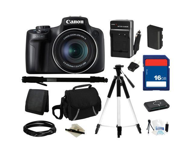 Canon PowerShot SX50 HS Black Approx. 12.1 MP 50X Optical Zoom 24mm Wide Angle Digital Camera HDTV Output, Everything You Need Kit, 6352B001