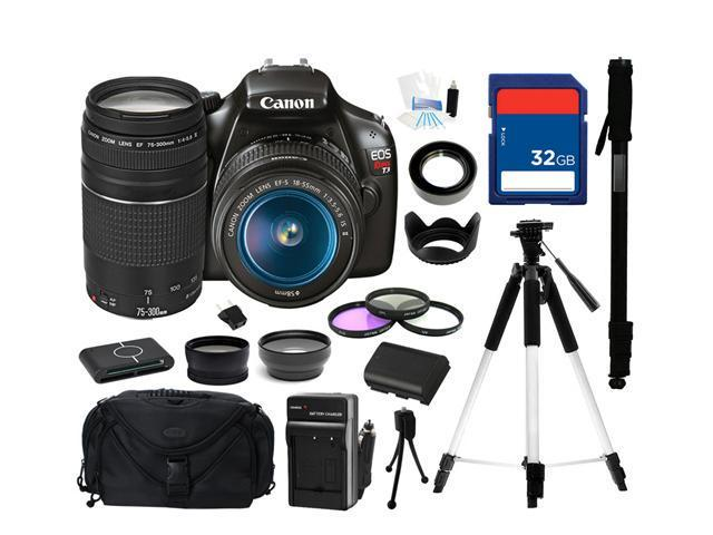 Canon EOS REBEL T3 Black 12.2 MP Digital SLR Camera with EF-S 18-55mm Lens and Canon Zoom Telephoto EF 75-300mm f/4.0-5.6 III Autofocus Lens, Everything You Need Kit, 5157B002