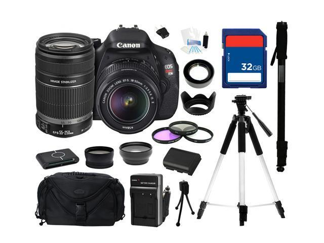 Canon EOS REBEL T3i Black 18 MP Digital SLR Camera with 18-55mm IS II Lens and Canon EF-S 55-250mm f/4-5.6 IS II Lens, Everything You Need Kit, 5169B003