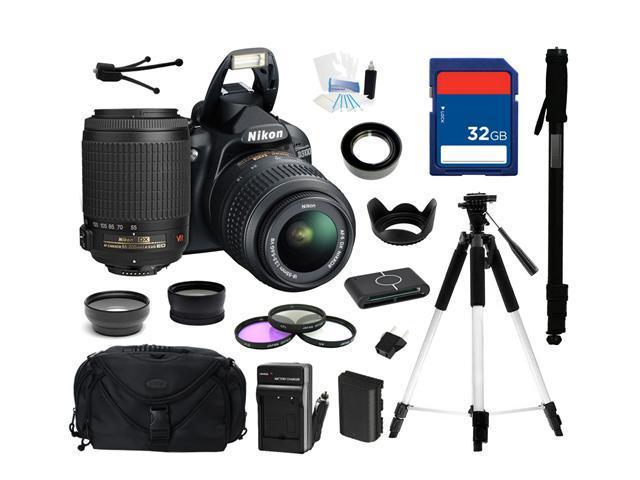 Nikon D3100 14.2MP Digital SLR Camera with 18-55mm f3.5-5.6 AF-S DX VR Nikkor Zoom Lens and Nikon AF-S DX VR Zoom-Nikkor 55-200mm f/4-5.6G IF-ED Lens, Everything You Need Kit, 25472
