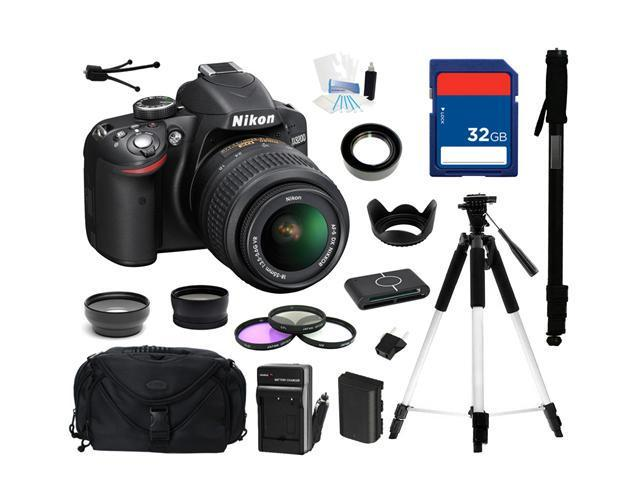 Nikon D3200 Black 24.2 MP CMOS Digital SLR Camera with 18-55mm Lens & Wi-Fi Connectivity, Everything You Need Kit, 25492