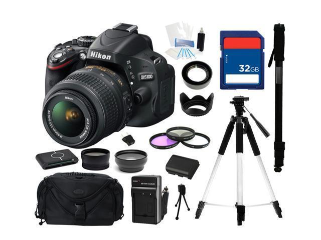 Nikon D5100 CMOS Digital SLR with 18-55mm f/3.5-5.6AF-S DX VR Nikkor Zoom Lens, Everything You Need Kit, 25478