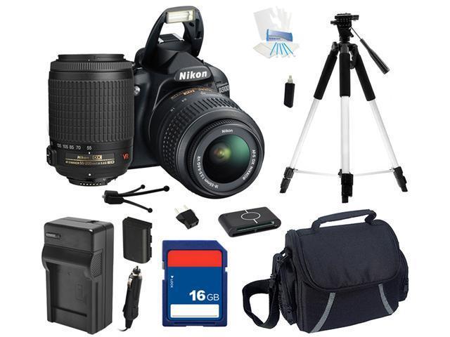 Nikon D3100 14.2MP Digital SLR Camera with 18-55mm f3.5-5.6 AF-S DX VR Nikkor Zoom Lens and Nikon AF-S DX VR Zoom-Nikkor 55-200mm f/4-5.6G IF-ED Lens, Beginner's Bundle Kit, 25472