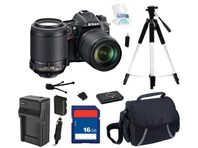 Nikon D7100 DSLR Camera with 18-55mm f/3.5-5.6G ED VR DX Lens, 55-200mm Lens Beginner Bundle Kit