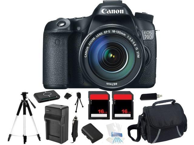 Canon EOS 70D 18.0 MP Digital Camera w/ EF-S IS 18-135mm Lens + 32GB Bundle Kit