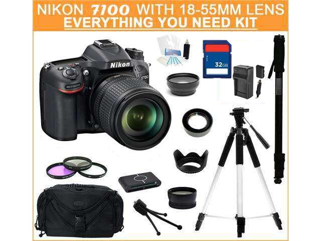 Nikon D7100 DSLR Camera with 18-55mm f/3.5-5.6G ED VR DX Lens,  Everything You Need Kit