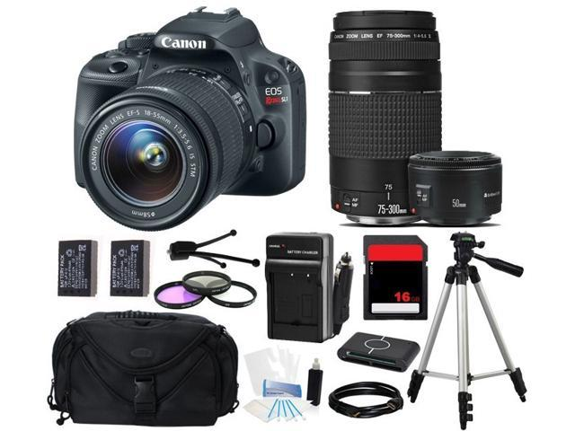 Canon EOS Rebel SL1/100D SLR Camera 18-55mm + 75-300mm + 50mm f/1.8 (3 Lens Kit)