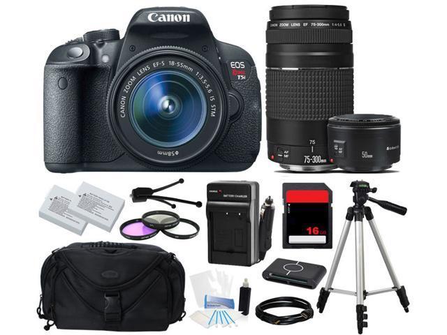 Canon EOS Rebel T5i 700D SLR Camera 18-55mm + 75-300mm + 50mm f/1.8 (3 Lens Kit)
