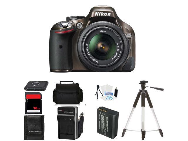 Nikon D5200 Digital SLR Camera & 18-55mm Body Beginner Birthday Bundle (Bronze)