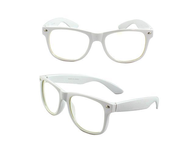 Stylish Wayfarer Sunglasses White Design with Clear Lenses for Women and Men
