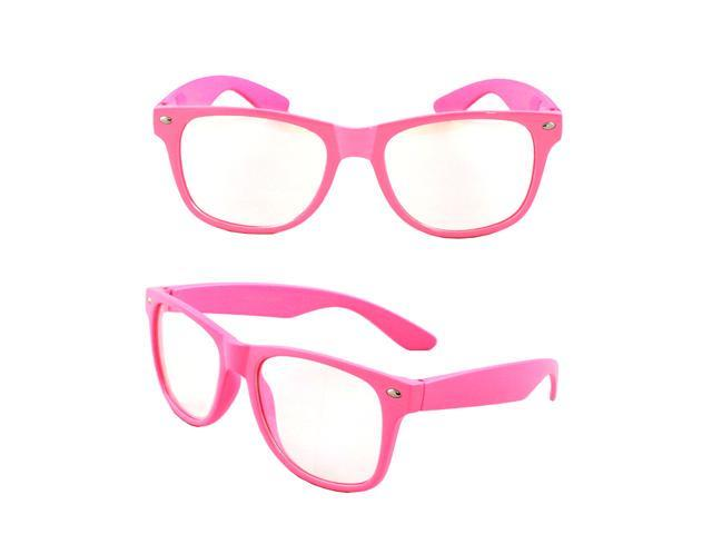 Stylish Wayfarer Sunglasses Pink Design with Clear Lenses for Women and Men