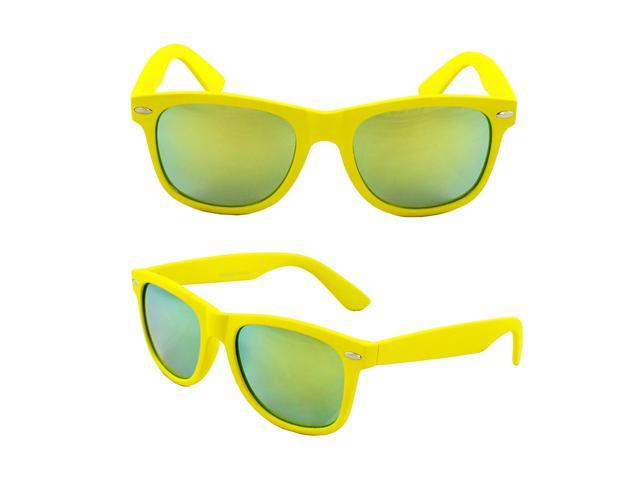 Wayfarer Fashion Sunglasses Yellow Design with Yellow Mirror Lenses for Women and Men
