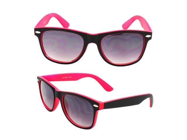 Wayfarer Fashion Sunglasses 351 Rubber Coating Black with Pink Frame Purple Black Lenses for Women and Men