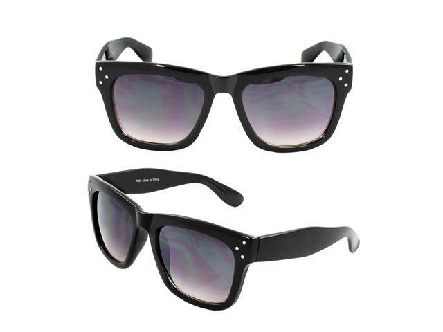 Wayfarer Fashion Sunglasses P084 Black Frame Purple Black Lenses for Women and Men