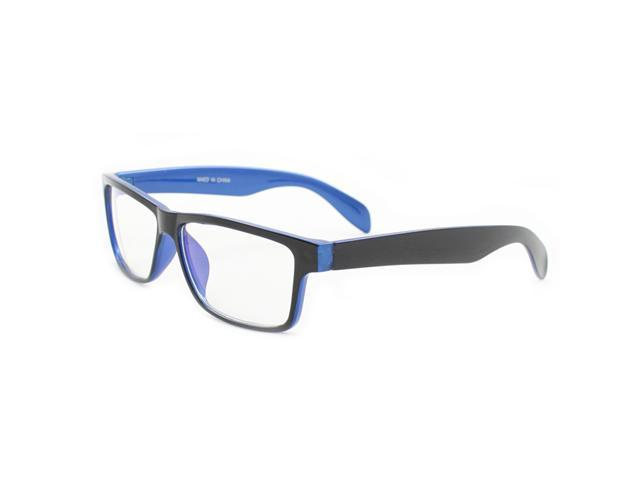 Rectangle Fashion Sunglasses P2133 Black with Blue Frame Clear Lens for Women and Men (can be optical frame)